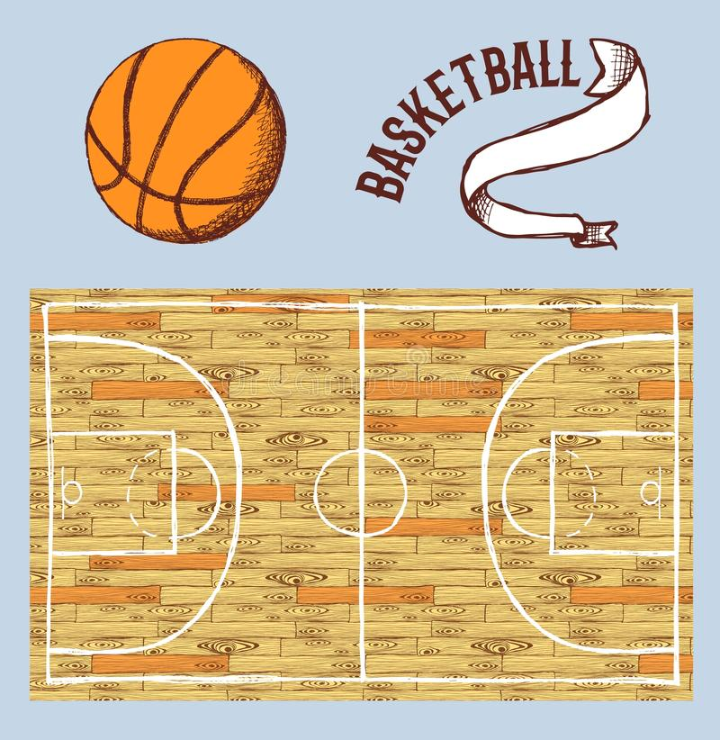 Schetsbasketbal met hof en bal wordt geplaatst die vector illustratie