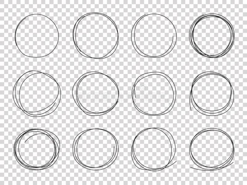 Schetscirkels Hand getrokken omcirkelde kaders De cirkel geïsoleerde vector van de het potloodslag van de gekrabbelkrabbel zwarte stock illustratie