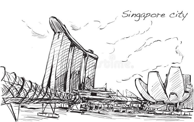 Schetscityscape van de horizon van Singapore, vrije hand trekt stock illustratie
