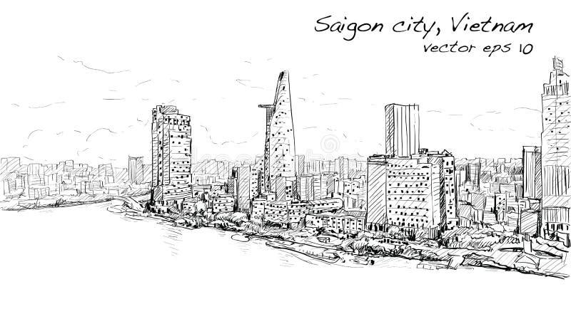Schetscityscape van Saigon-stad Ho Chi Mihn Vietnam toont hemel royalty-vrije illustratie
