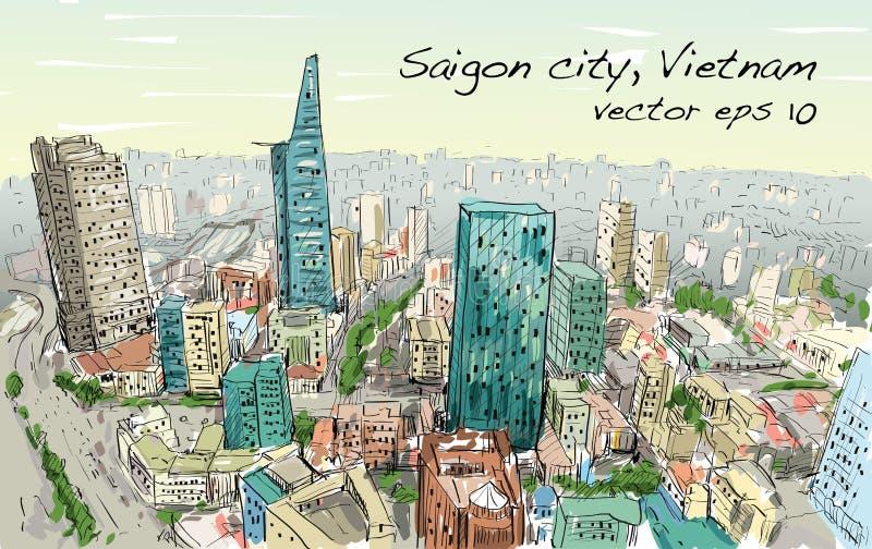 Schetscityscape van Saigon-stad Ho Chi Mihn Vietnam toont hemel stock illustratie