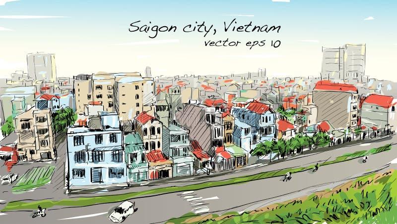 Schetscityscape van Saigon-stad Ho Chi Mihn Vietnam toont hemel vector illustratie