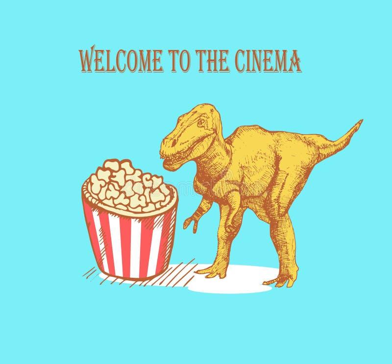 Schetsdinosaurus en popcorn in uitstekende stijl, vector stock afbeeldingen