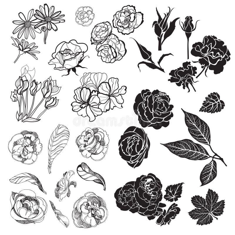 Schetsen van bloemen stock illustratie