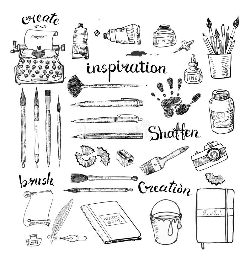 Schetsen van de hulpmiddelen van de kunstenaar en van de schrijver stock illustratie