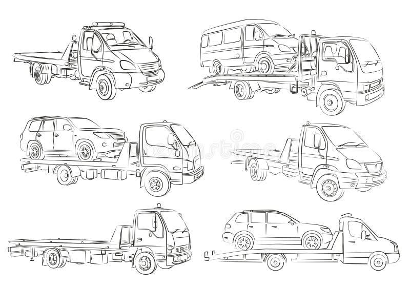Schetsen van slepenvrachtwagens stock illustratie