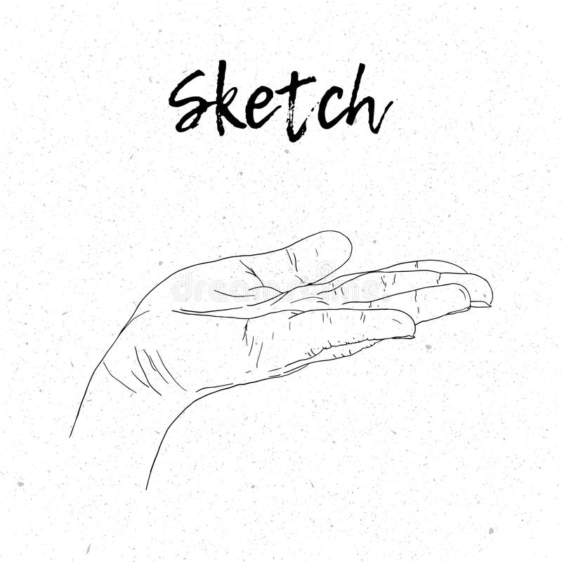 Schetshand die handen bedelen Vector lijnillustratie royalty-vrije illustratie
