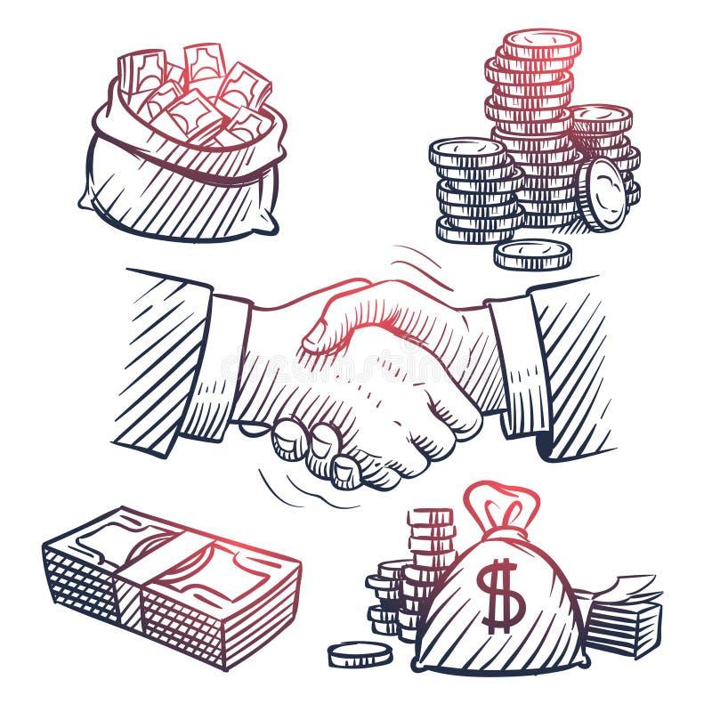 Schetshand het schudden De pakken van krabbeldollars, geldzak, gouden muntstukken en contant geldsymbolen De grote vector van de  stock illustratie