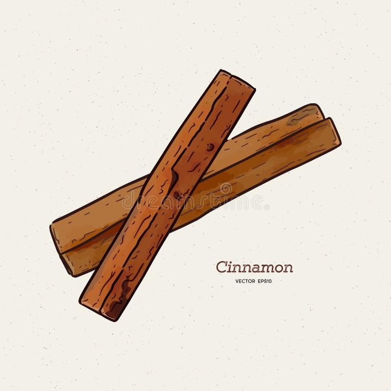 Schetsillustratie cinnamon Vector van zachtaardige hand getrokken kaneelsticks royalty-vrije illustratie