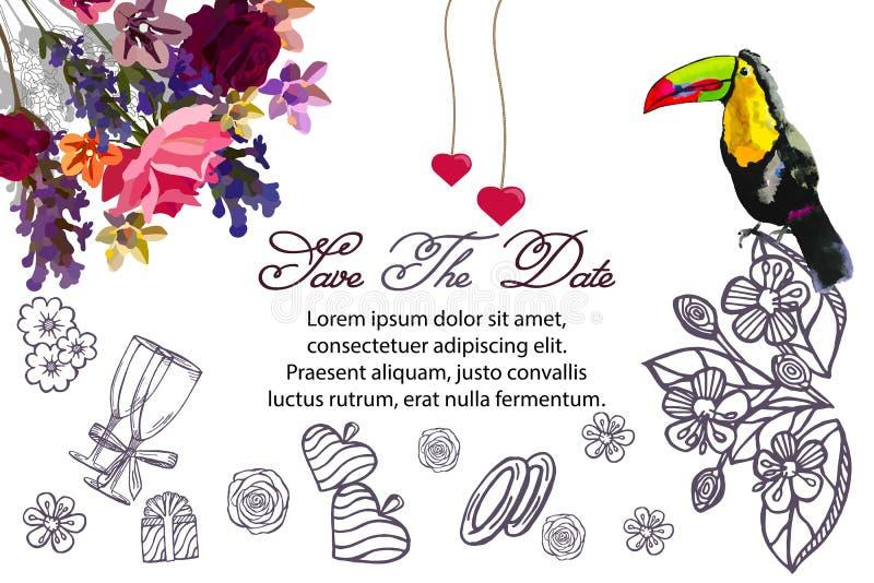 Schetsillustratie - kaart met een kader van tekeningen van bloemen, gift, ringen, glazen, harten Toekan tropische vogel vector illustratie