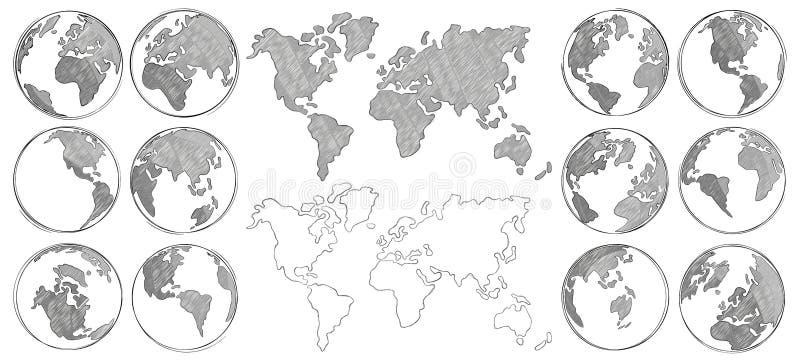 Schetskaart Isoleerde de hand getrokken aardebol, trekkend wereldkaarten en bollenschetsen vectorillustratie royalty-vrije illustratie