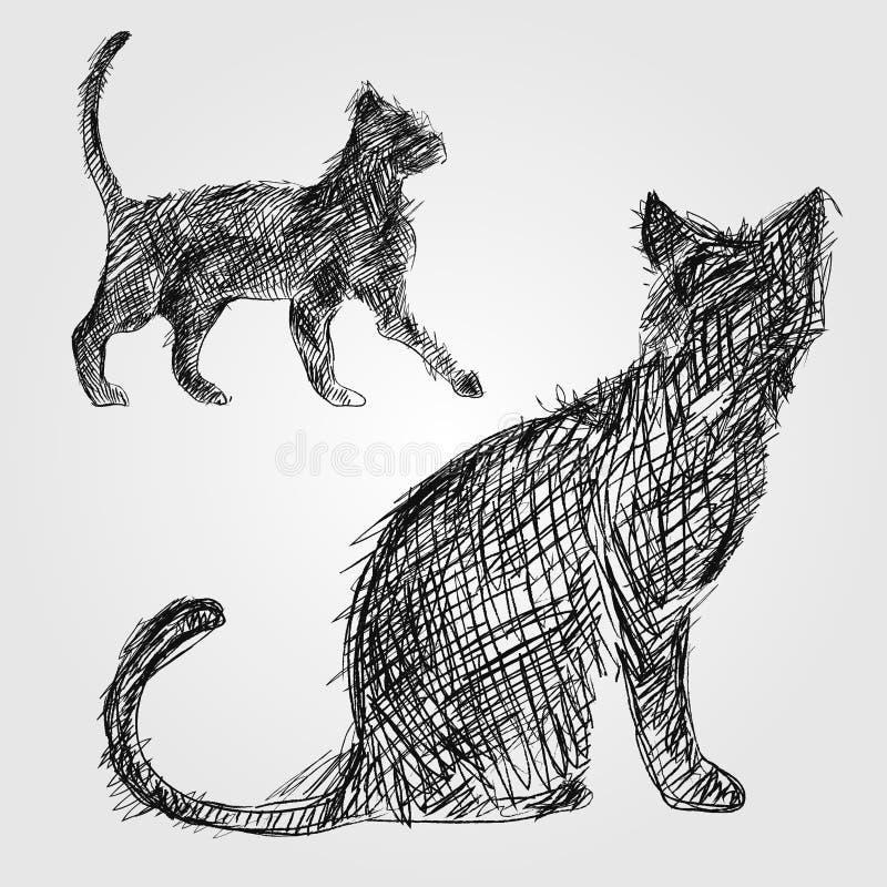 Schetskat vector illustratie