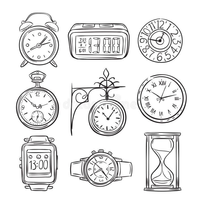 Schetsklok Krabbelhorloge, alarm en tijdopnemer, de zandloper van de zandklok Hand getrokken tijd vectorwijnoogst geïsoleerde pic vector illustratie