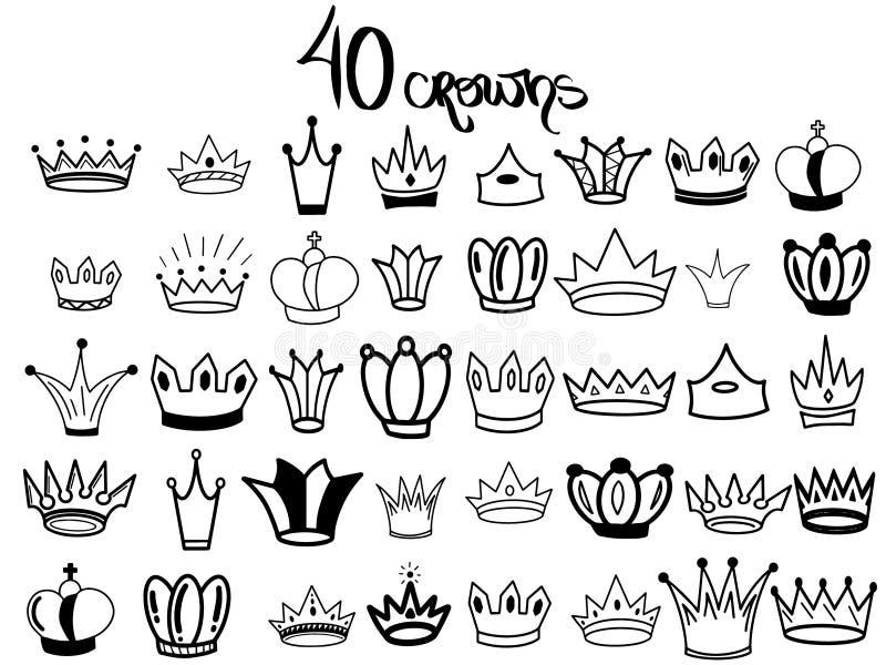 Schetskroon Zoete Grote Vastgestelde Kronen Elegante die koningintiara, koningskroon op witte achtergrond wordt geïsoleerd Zwarte vector illustratie