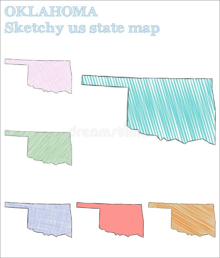 Schetsmatig Oklahoma ons staat vector illustratie
