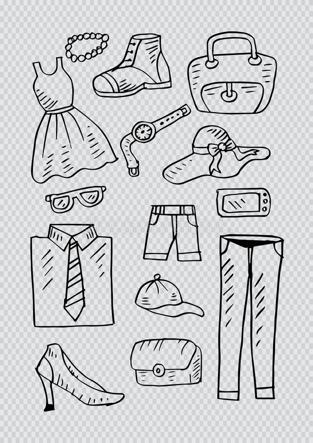Schetsmatig van manierkleren en toebehoren voor de mens en vrouw worden geplaatst die vector illustratie