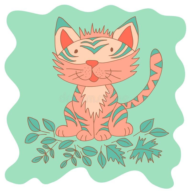 Schetsmatig weinig roze tijgerwelp die en in Dalingsbladeren glimlachen spelen vector illustratie