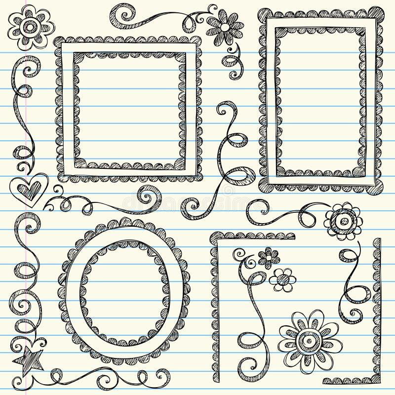 Schetsmatige Frames terug naar de Vastgestelde Vector van de Krabbel van de School stock illustratie
