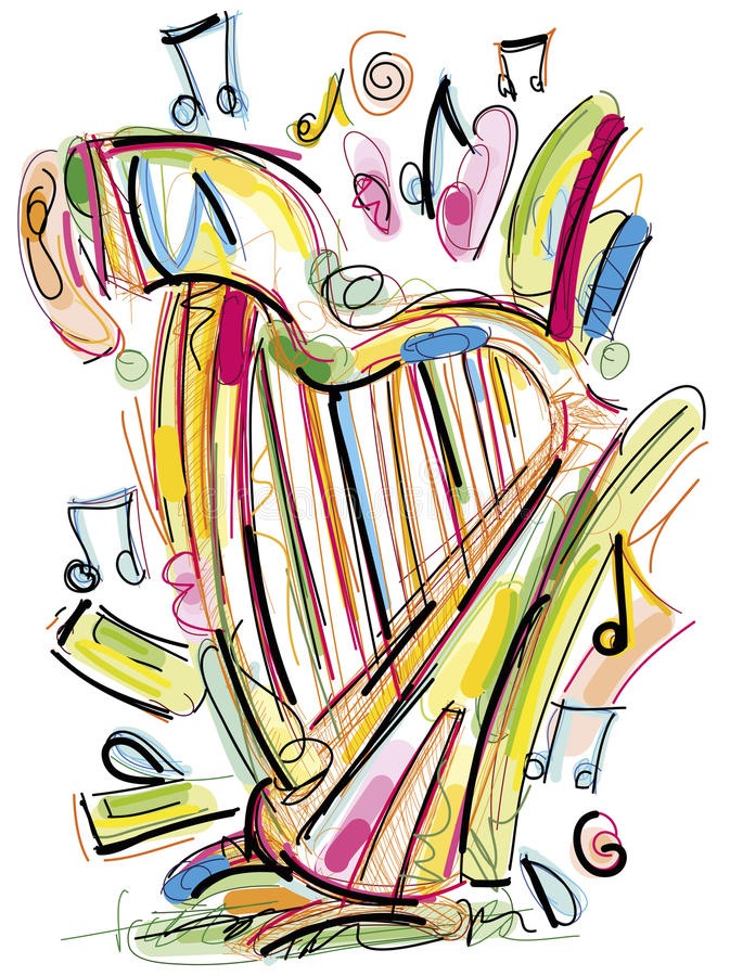 Schetsmatige Harp royalty-vrije illustratie