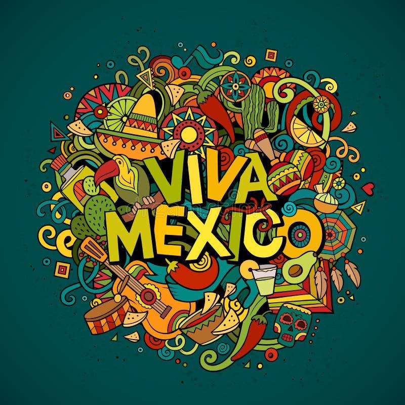 Schetsmatige het overzichts feestelijke achtergrond van Viva Mexico vector illustratie