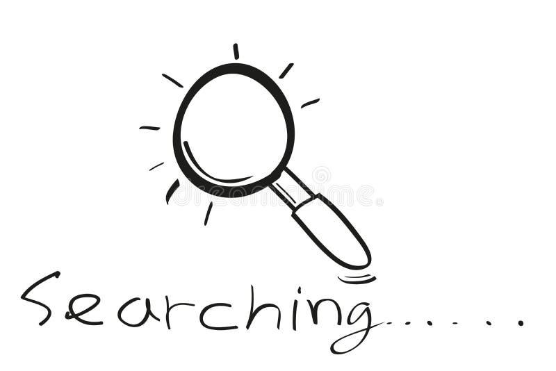 Schetsmatige Illustratie: Zoek iets, Geïsoleerd op Wit stock illustratie