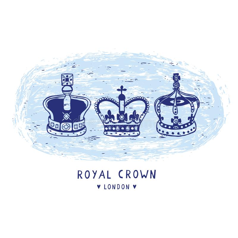 Schetsmatige Koninklijke geplaatste de Kroon clipart elementen van Londen Beroemd historisch Brits symbool stock illustratie