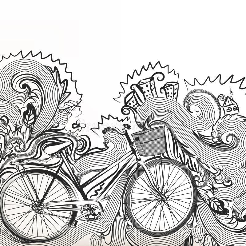Schetsmatige krabbel met fiets stock illustratie