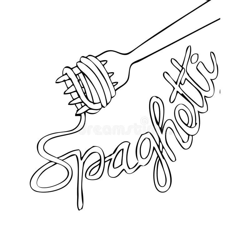 Schetsmatige noedel op vork met tekstspaghetti vector illustratie