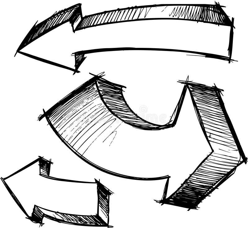 Schetsmatige Pijlen Geplaatst Vector stock illustratie