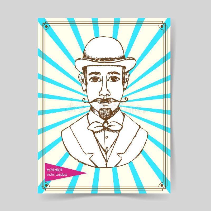 Schetsmens in hoed royalty-vrije illustratie