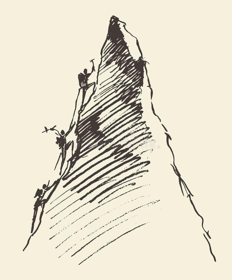 Schetsmensen die berg piekvector beklimmen royalty-vrije illustratie