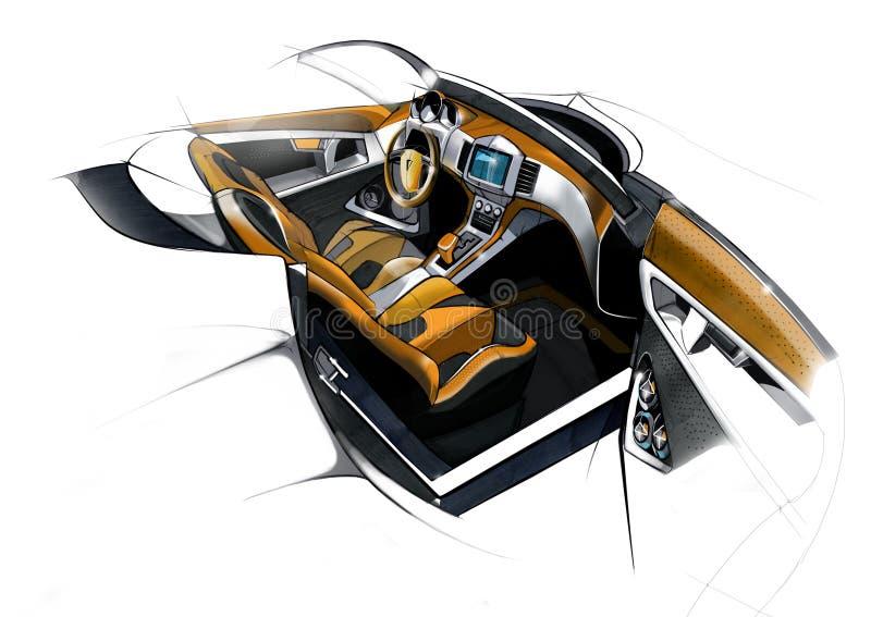 Schetsontwerp van het moderne conceptuele binnenland van een auto van de sportencoupé Illustratie stock illustratie