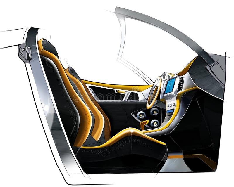 Schetsontwerp van het moderne conceptuele binnenland van een auto van de sportencoupé Illustratie vector illustratie
