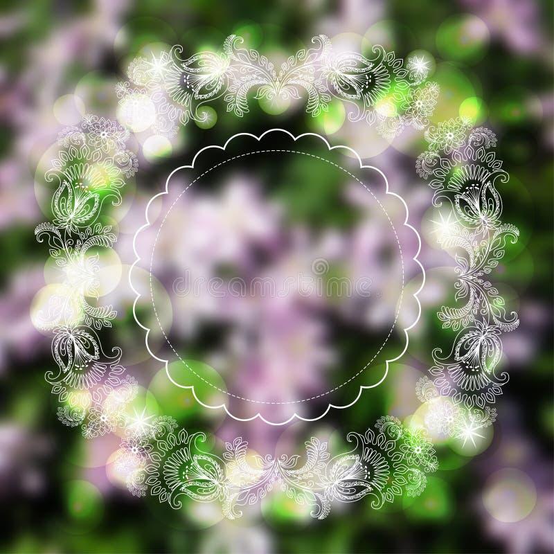 Schetsornamenten, kader op vage achtergrond stock illustratie