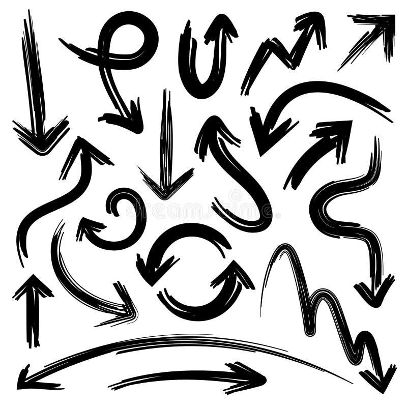 Schetspijlen De elementen van de krabbelpijl met de textuur van het gekrabbelpotlood grunge Geïsoleerde hand getrokken vectorreek vector illustratie