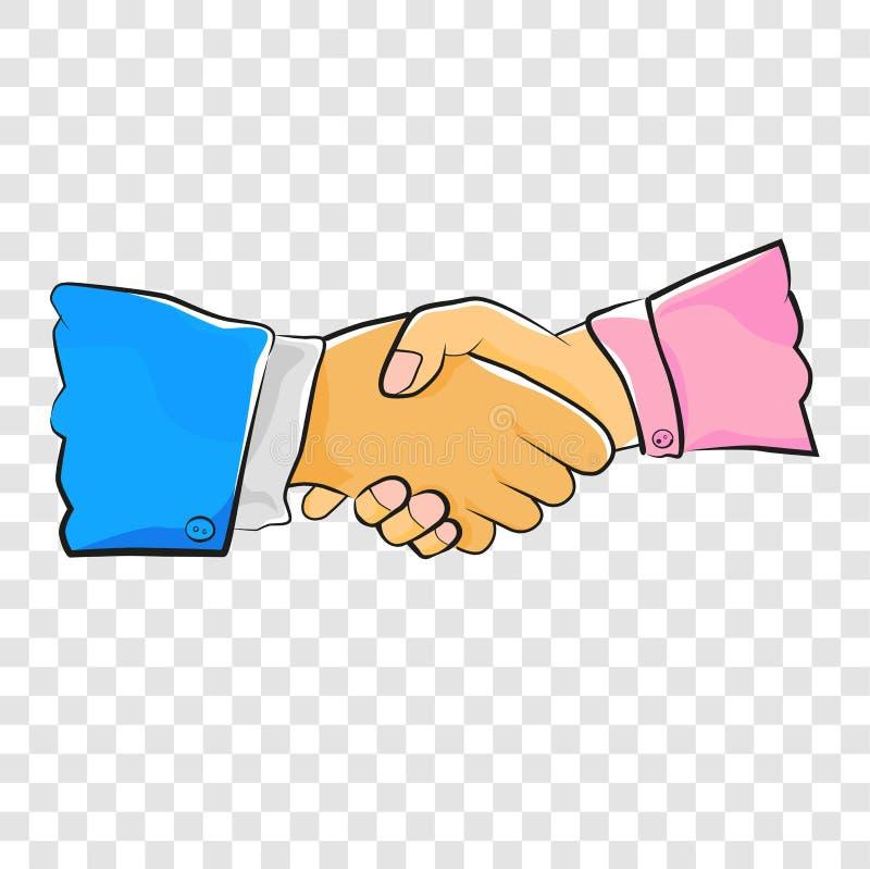 Schetsschets, die de Blauwe Smokingmens en het Roze de Hand van de Blousevrouw schudden gebruiken, bij Transparante Effect Achter stock illustratie