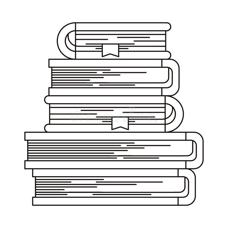 Schetssilhouet van stapel boeken met referentie vector illustratie