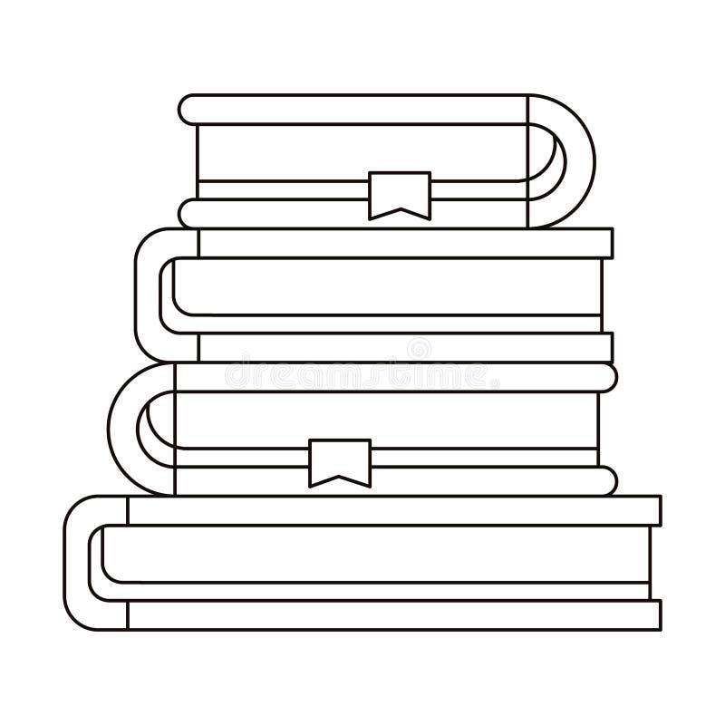 Schetssilhouet van stapelinzameling van boeken met referentie vector illustratie