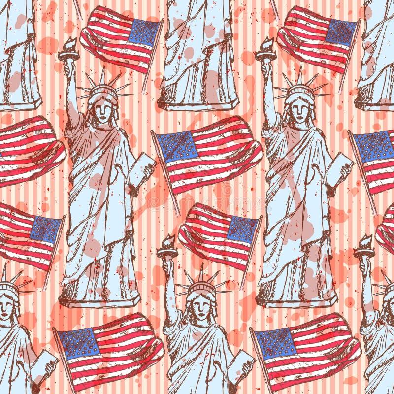 Schetsstandbeeld van Vrijheid en vlag, naadloos patroon stock illustratie