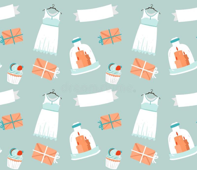 Schetste de hand getrokken vectorbeeldverhaalplattelander naadloze die het patroondecoratie van huwelijkselementen op blauwe acht stock illustratie