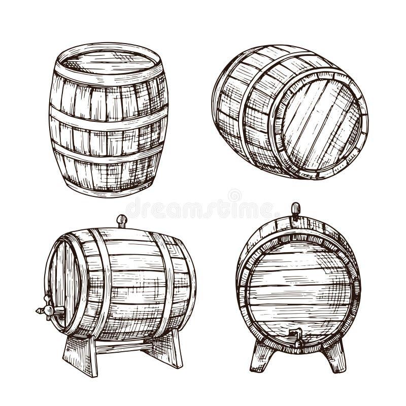Schetsvaten Whisky eiken vaten Houten wijnvat in uitstekende gravurestijl Bar, bar en brouwerij vectorteken royalty-vrije illustratie