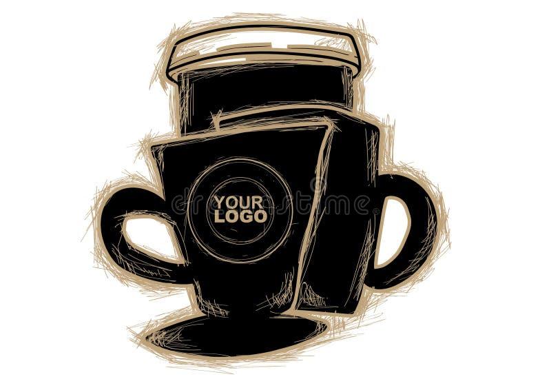Schetsvector en Koffie voor u stock afbeelding