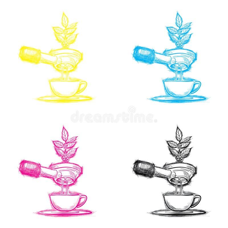 Schetsvector en Koffie voor u stock foto