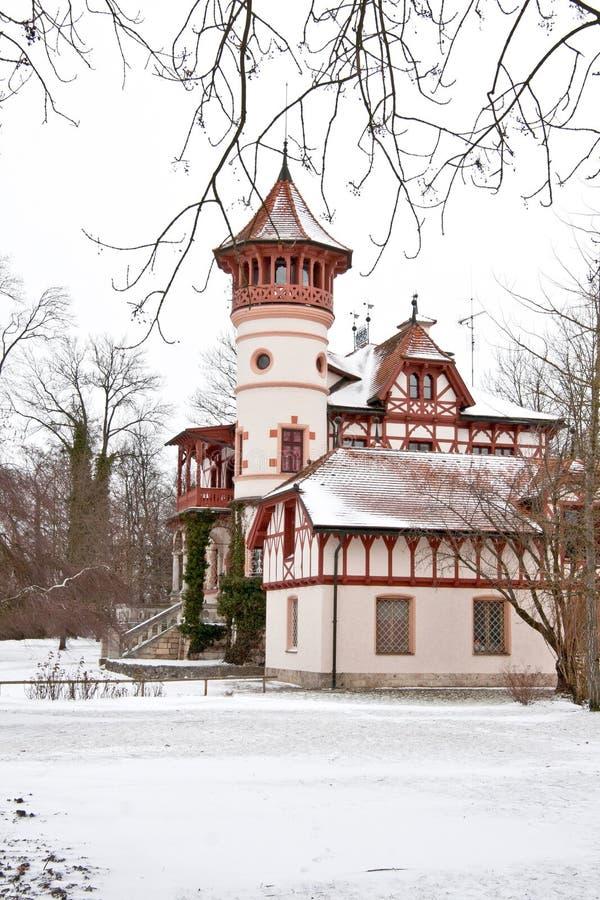 Scheuermann-` s Landhaus oder wenig Schloss, Herrsching morgens Ammersee lizenzfreie stockfotos