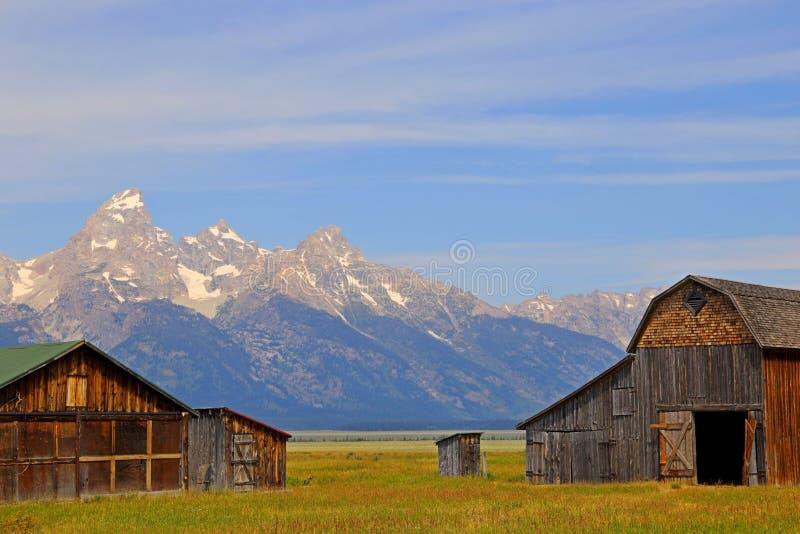 Scheune auf mormonischer Reihe in großartigem Nationalpark Teton lizenzfreie stockfotografie