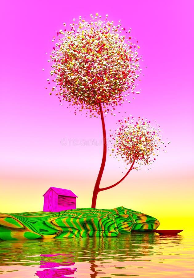 Scheune unter magischen Bäumen vektor abbildung