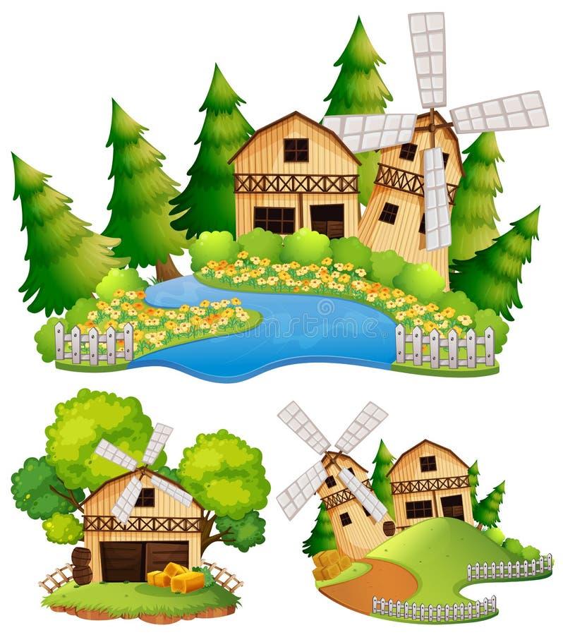 Scheunen und Windmühle im Bauernhof vektor abbildung