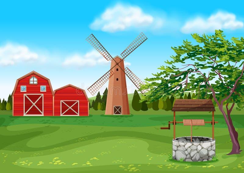 Scheunen und Windmühle im Hof stock abbildung