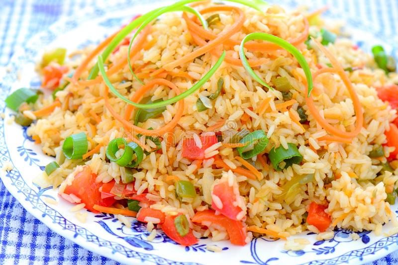 Schezwan Fried rice. Malaysian schezwan fried rice consisting of vegetables,sauces royalty free stock image