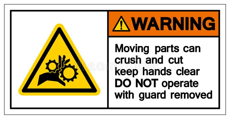 Schiacciamento d'avvertimento della parte mobile e tagliare per tenere il chiaro segno di simbolo delle mani, illustrazione di ve illustrazione di stock